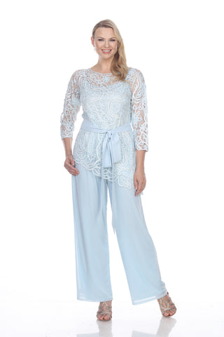 C80603 Beaded Short Sleeve Top With Pants
