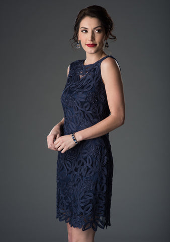 1612 Soutache Lace Sequin Boatneck Sheath Dress