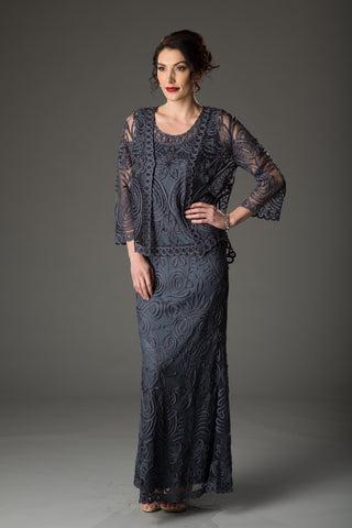 C88084 Beaded Short Duster Dress Set