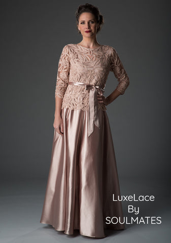1602 Embroidered Circle Skirt Three Piece Gown