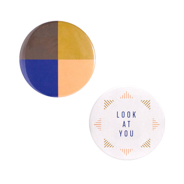 Look At You Button Mirror Set