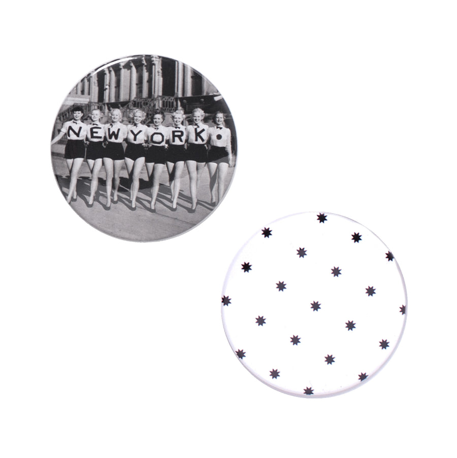 New York Button Mirror Set