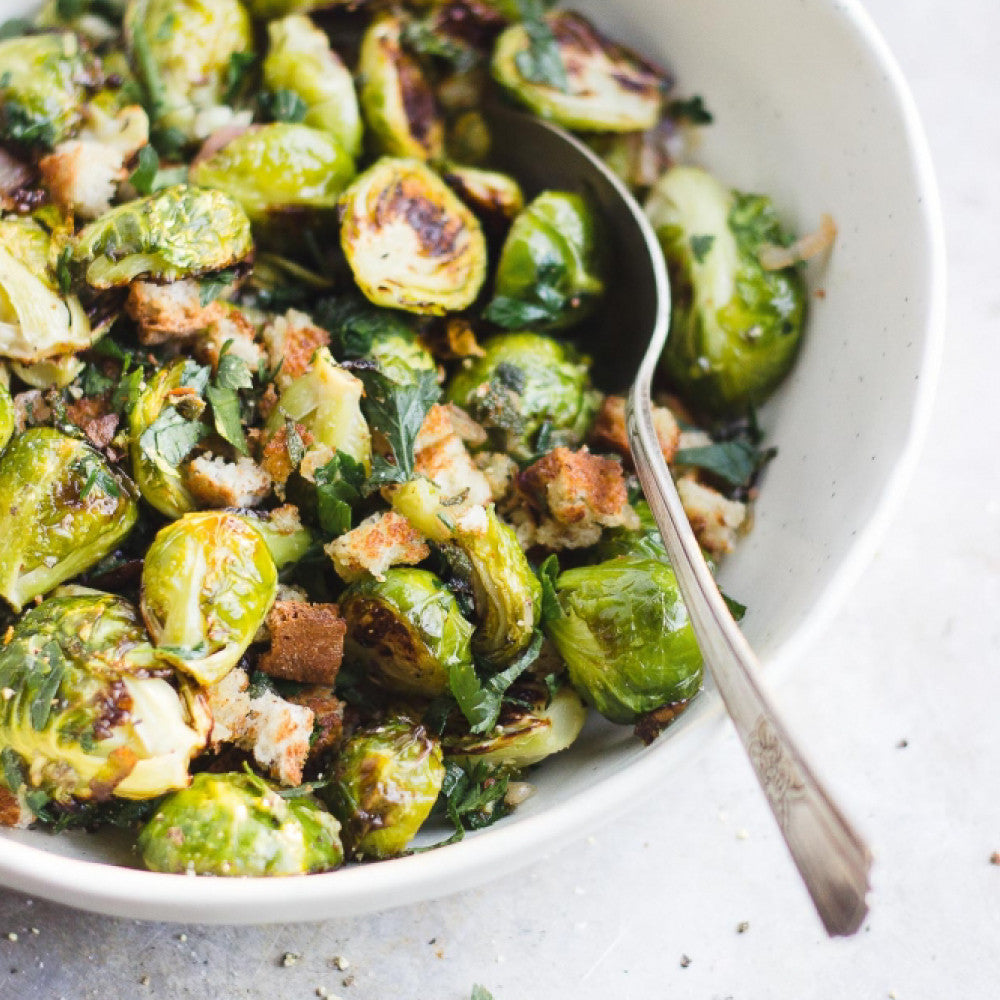 MEATLESS MONDAY: Breadcrumb Brussels Sprouts with Sage and Shallots