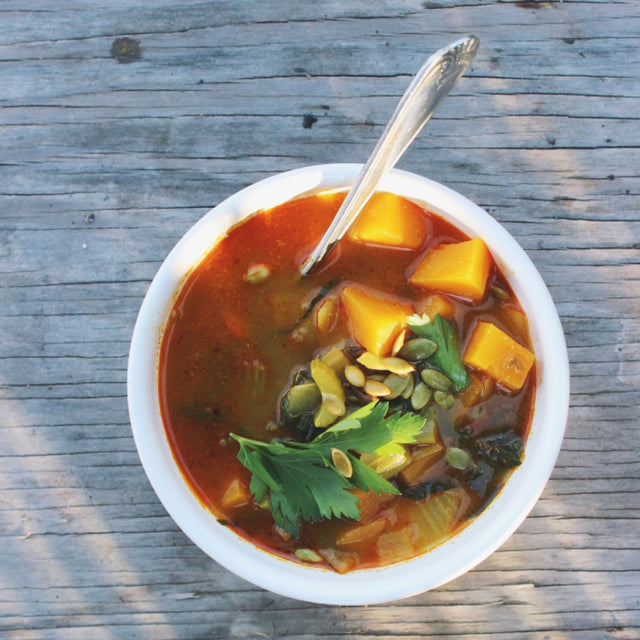 MEATLESS MONDAY: Butternut Squash Soup with Red Curry and Pumpkin Seeds