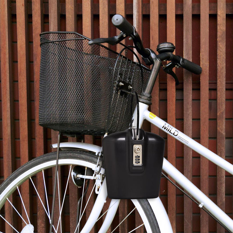 portable bike locker with adjustable steel cable