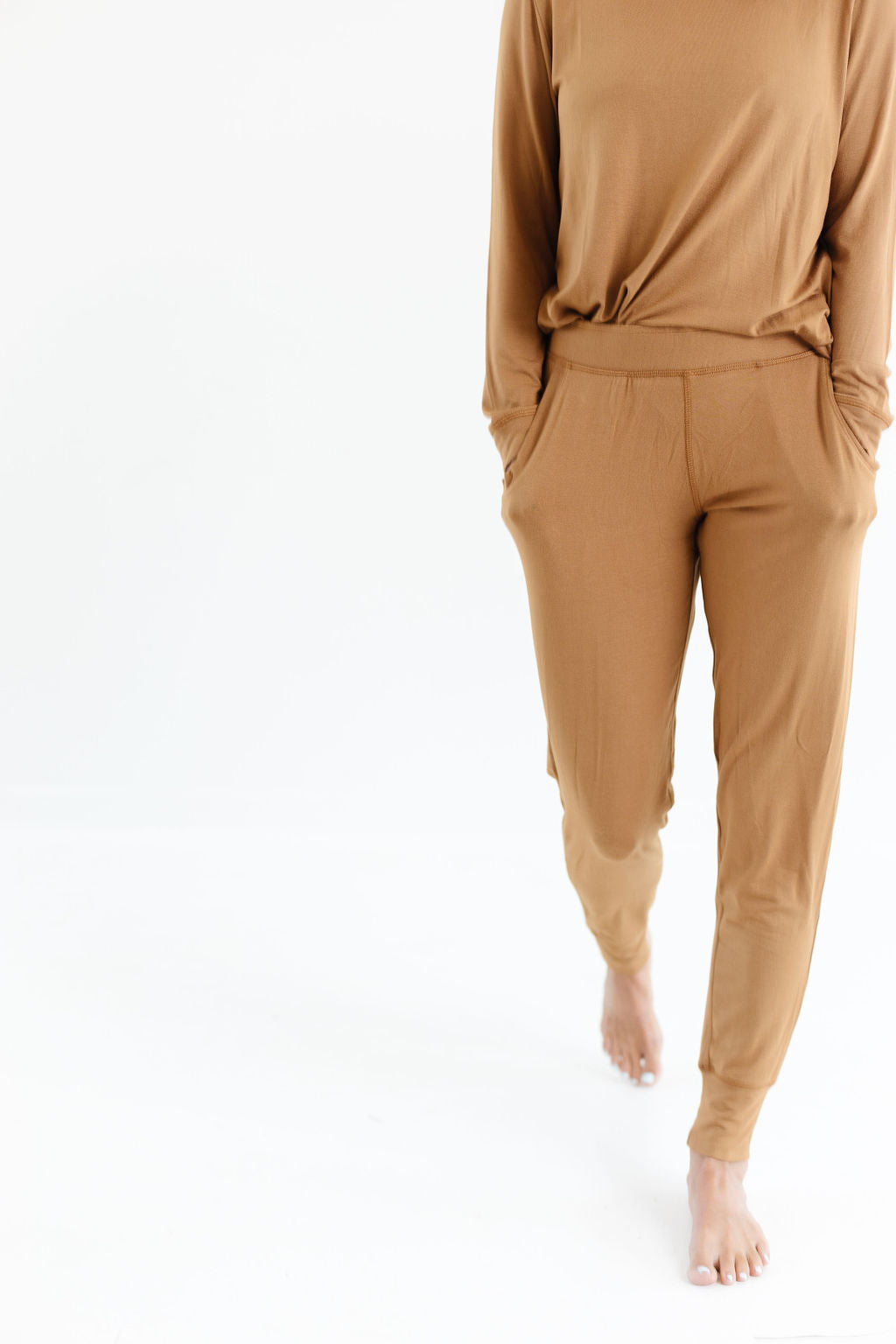 Long Sleeve Jogger Set in Camel