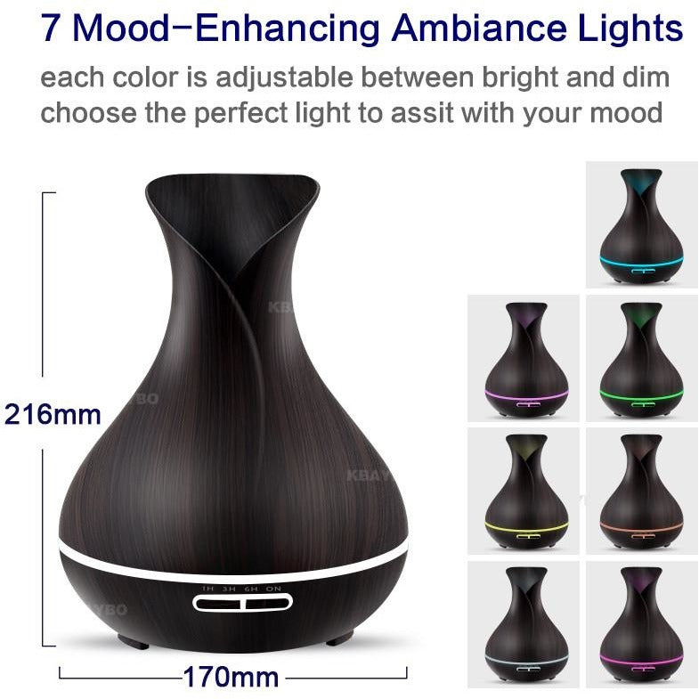 Essential Oil Diffuser - 400ml Air Humidifier with Wood Grain 7 Color LED