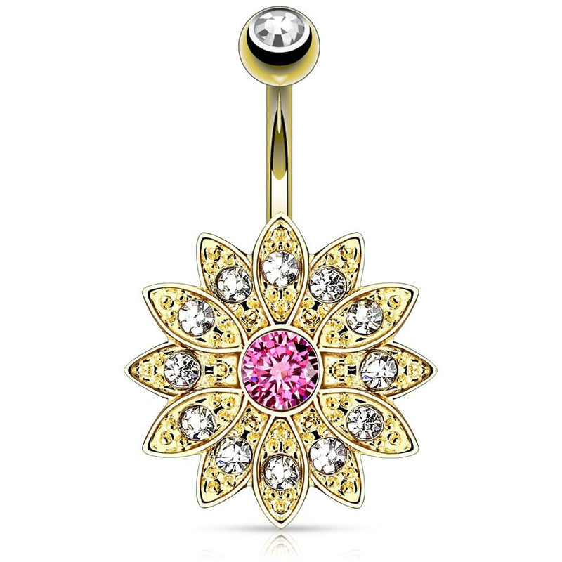 14kt Gold Plated Flower Belly Ring