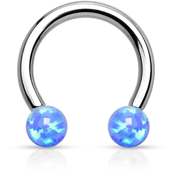Blue Fire Opal Circular Barbell