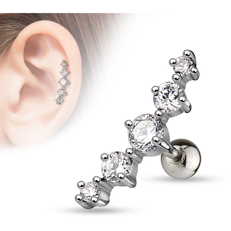 Clear Gem Cluster Cartilage Barbell