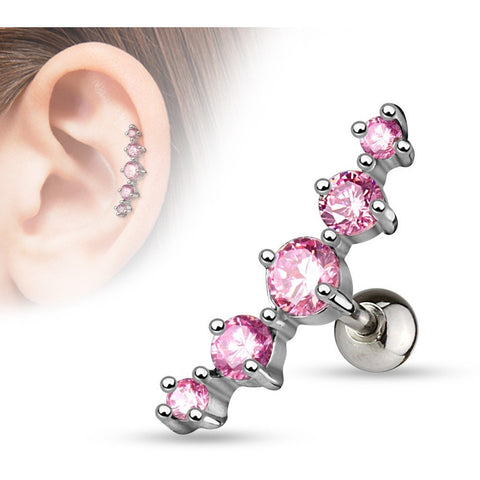 Pink Gem Cluster Cartilage Barbell