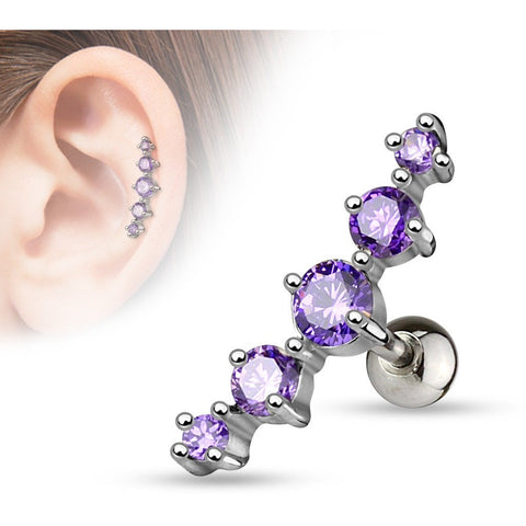 Tanzanite Gem Cluster Cartilage Barbell