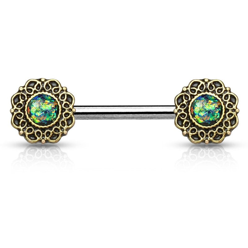 Blue/Green Fire Opal Tribal Nipple Barbell