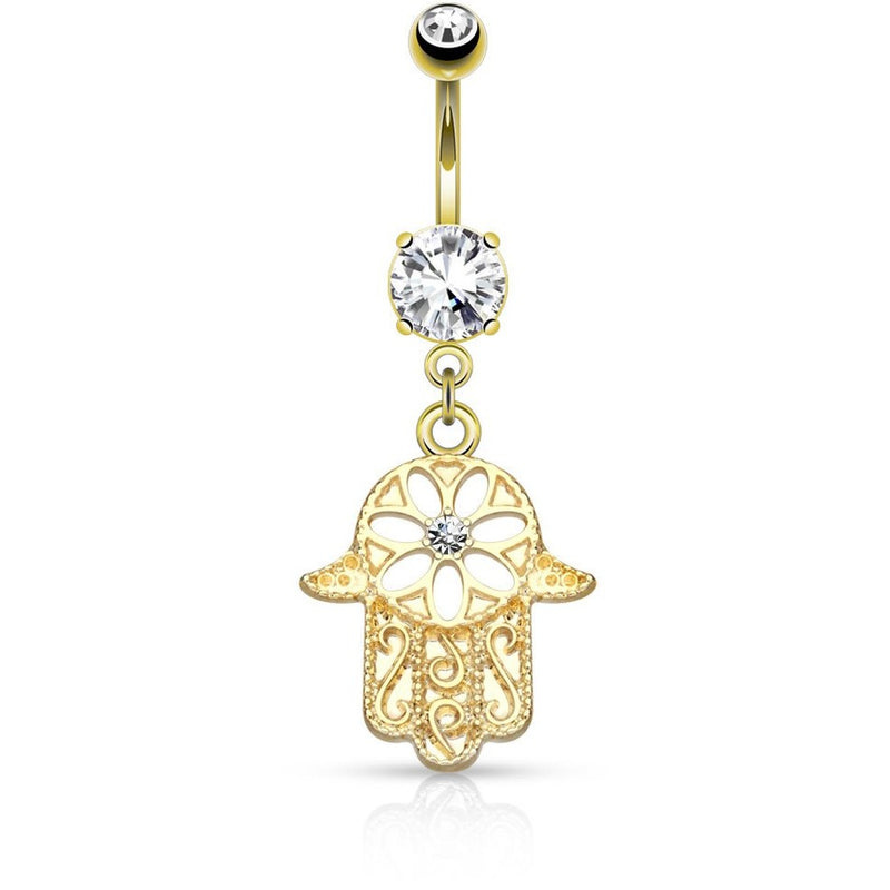 Gold Hamsa Hand Rose Gold Belly Ring