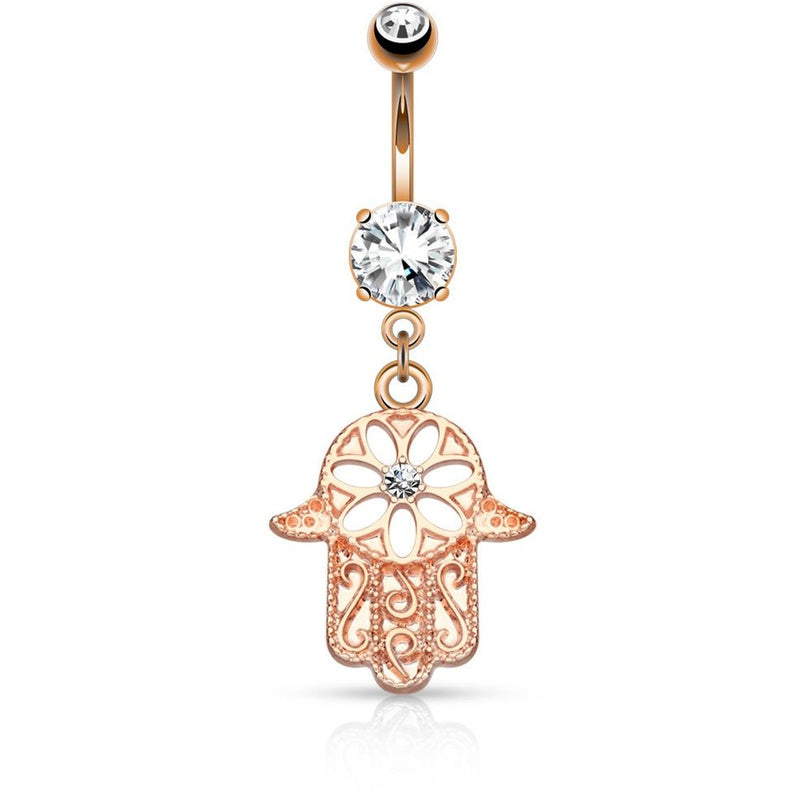Hamsa Hand Rose Gold Belly Ring