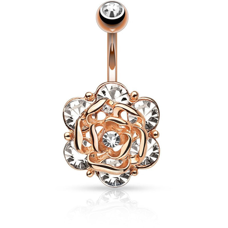 Rose Gold Gemmed Rose Belly Ring
