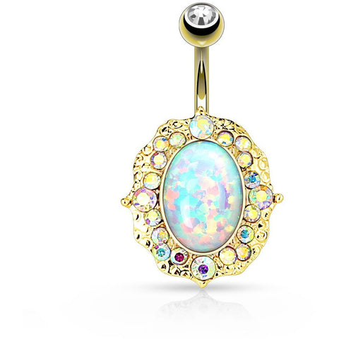 14kt Gold Fire Opal Crystal Flower Belly Ring