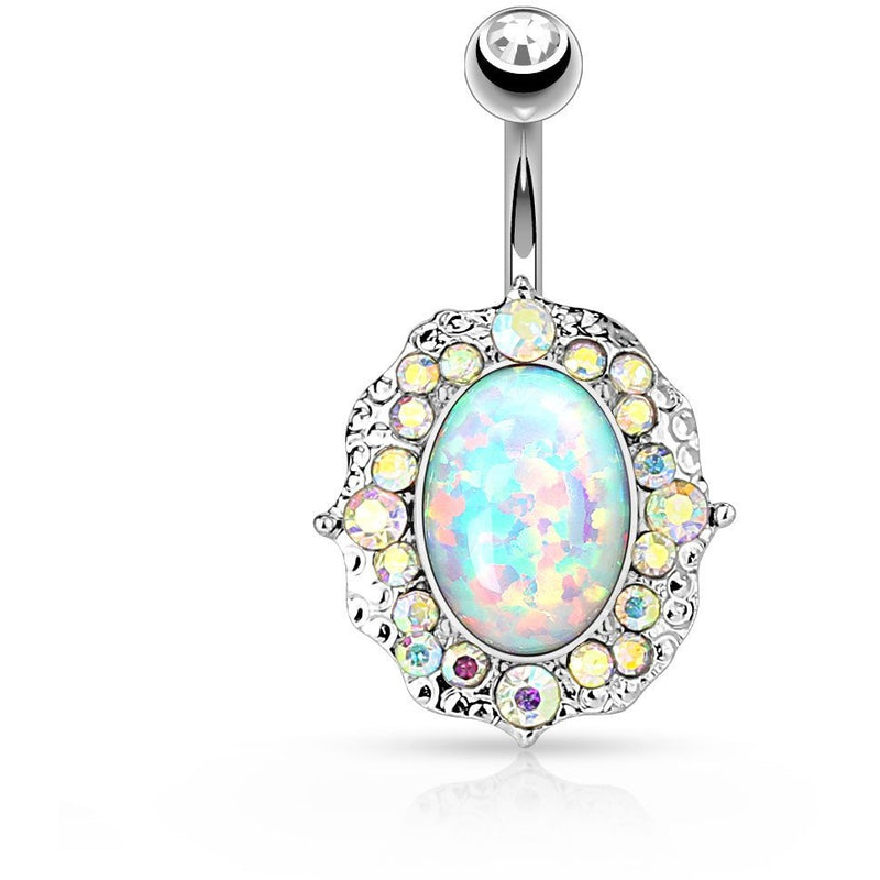 Fire Opal Crystal Flower Belly Ring