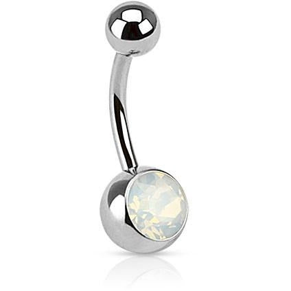 White Opalite Belly Ring