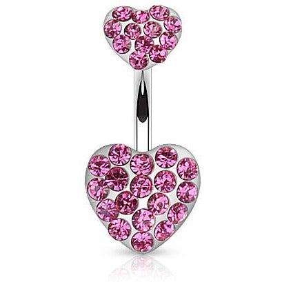 Pink Gem Heart Belly Ring