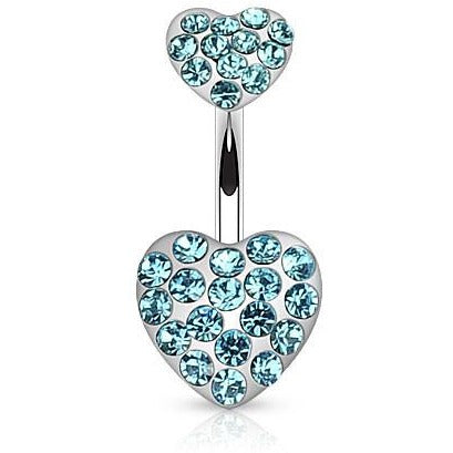 Aqua Gem Heart Belly Ring