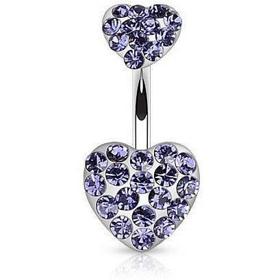 Tanzanite Gem Heart Belly Ring