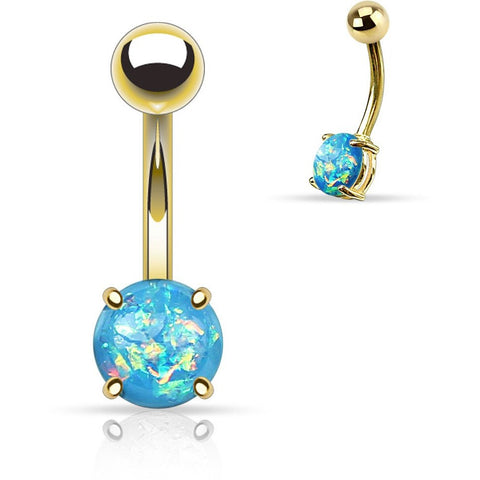 Aqua Fire Opal Gold Belly Ring