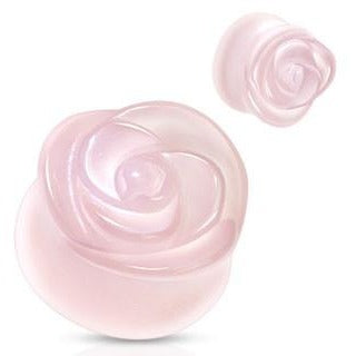 Organic Rose Carved Rose Quartz Plugs