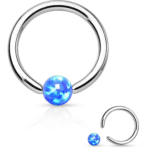 Blue Fire Opal Captive Bead Ring