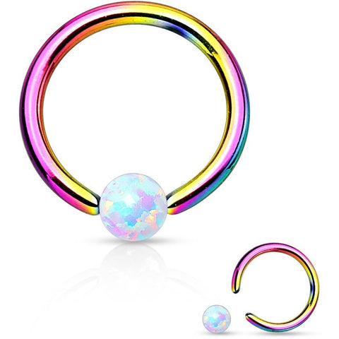 White Fire Opal Rainbow Captive Bead Ring