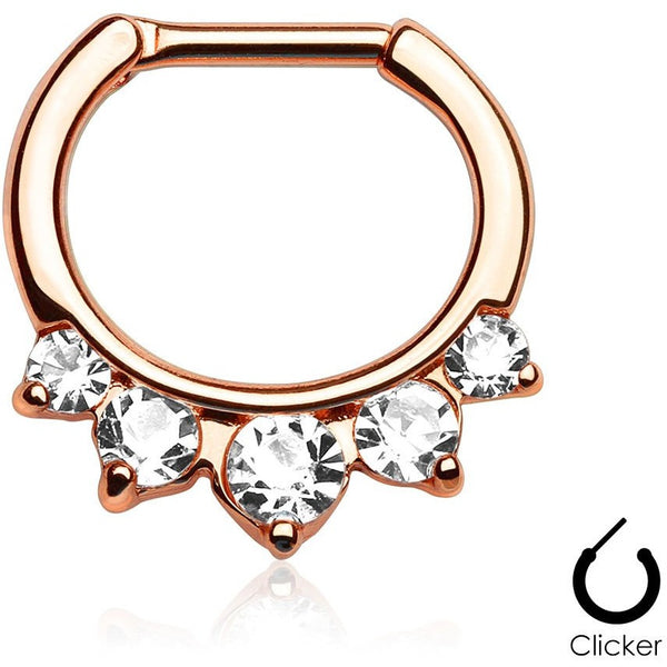 5 Pronged Rose Gold Septum Clicker