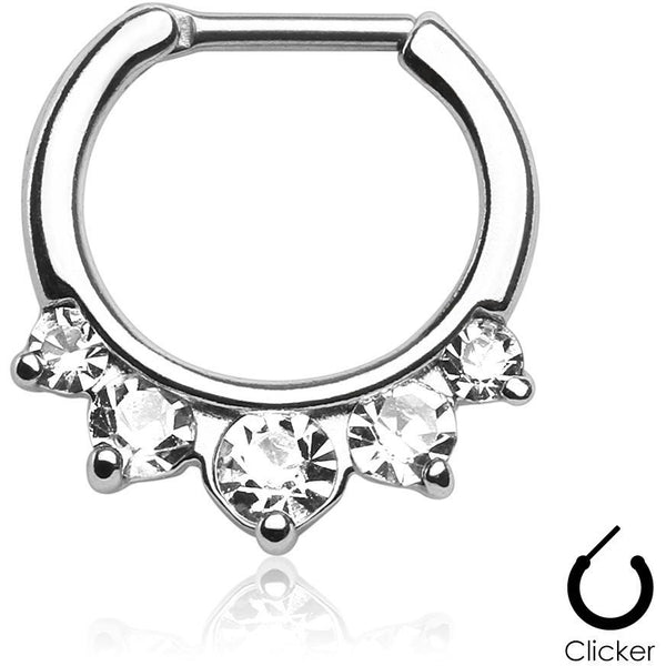 5 Pronged Clear Gem Septum Clicker