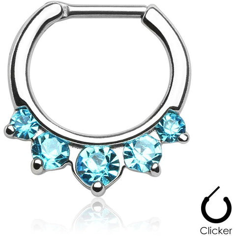 5 Pronged Aqua Gem Septum Clicker