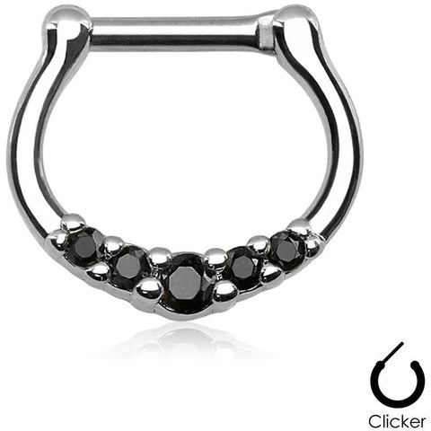 5 Gem Black Septum Clicker