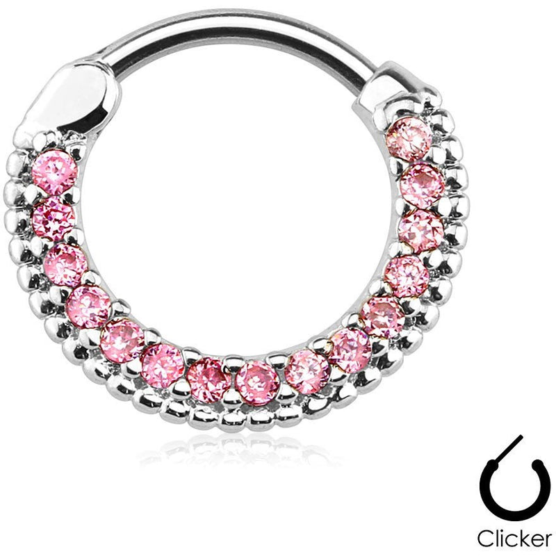 Pink Paved Gem Septum Clicker
