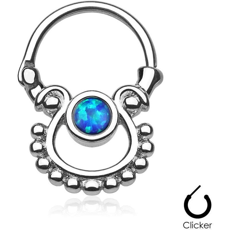 Tribal Goddess Blue Fire Opal Septum Clicker