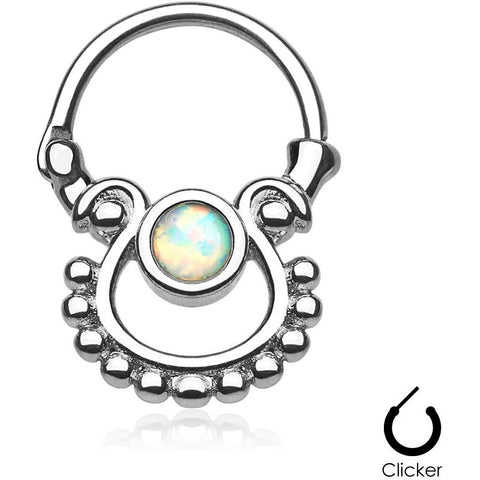 Tribal Goddess White Fire Opal Septum Clicker