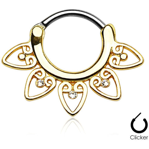 Gold Tribal Fan Septum Clicker