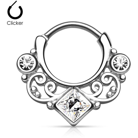 Steel Tribal Goddess Septum Clicker