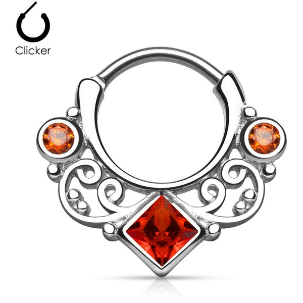Steel Tribal Goddess Red Gem Septum Clicker