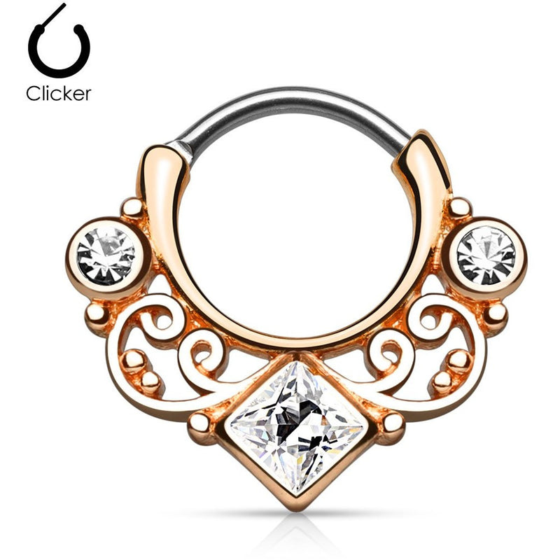 Rose Gold Tribal Goddess Septum Clicker