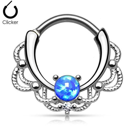 Lacey Blue Fire Opal Round Septum Clicker