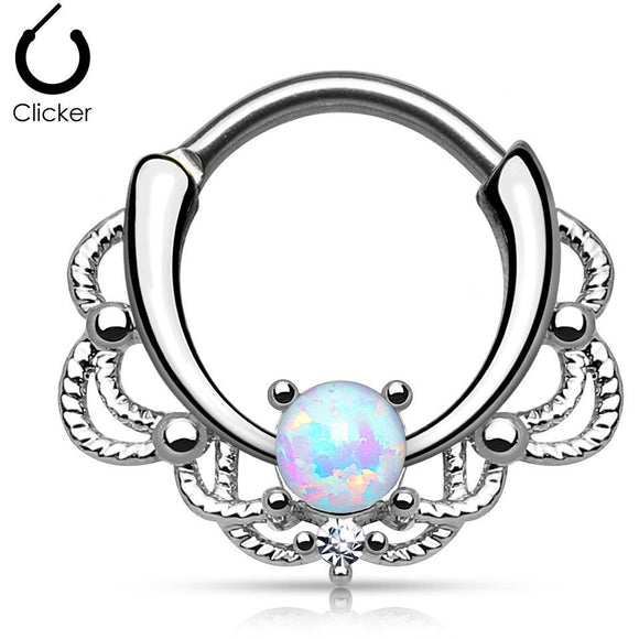 Lacey White Fire Opal Round Septum Clicker