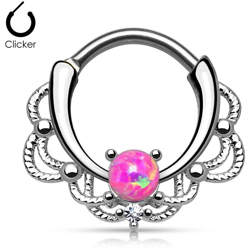 Lacey Pink Fire Opal Round Septum Clicker