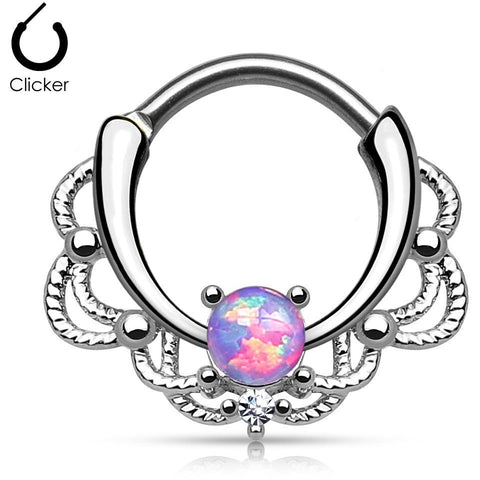 Lacey Purple Fire Opal Round Septum Clicker