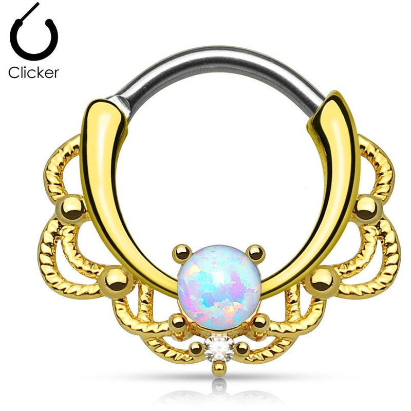 Lacey White Fire Opal Gold Round Septum Clicker