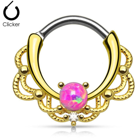 Lacey Pink Fire Opal Gold Round Septum Clicker