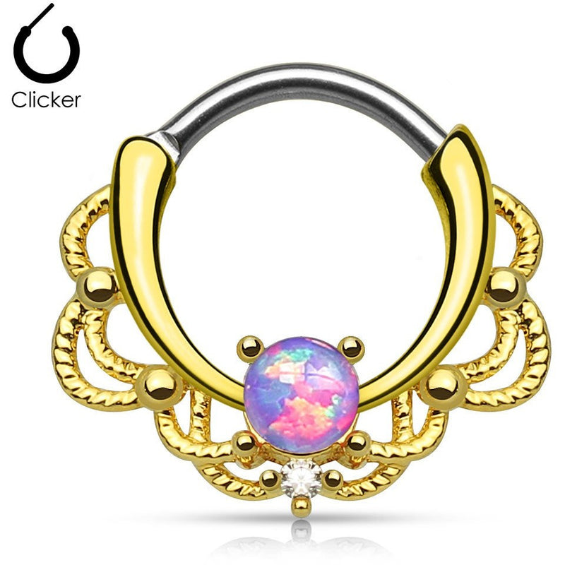 Lacey Purple Fire Opal Gold Round Septum Clicker