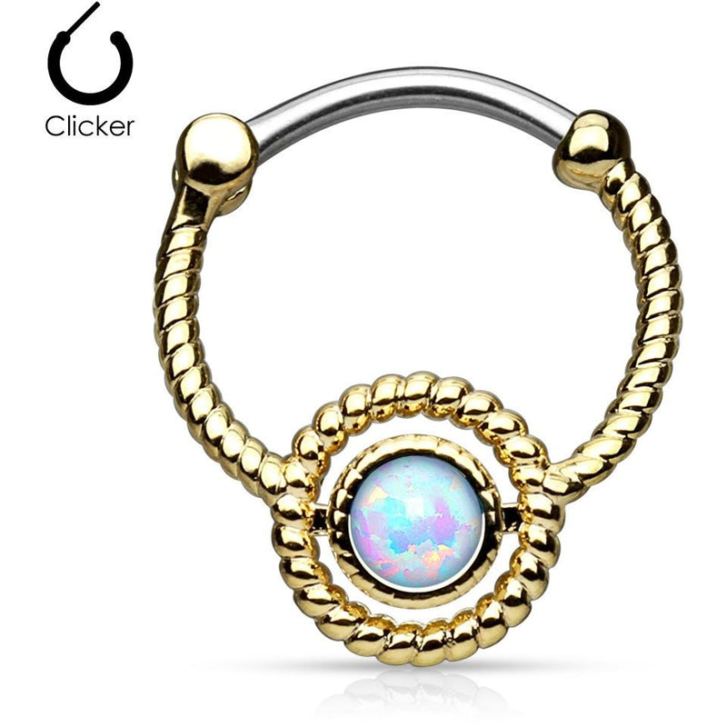 White Fire Opal Gold Septum Clicker