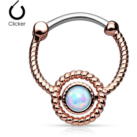White Fire Opal Rose Gold Septum Clicker